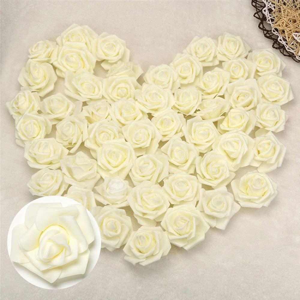 ODOMY 造花 バラの花 造花 シルクのバラの花 DIY ウェディングブーケ センターピース アレンジメント パーティー ベビーシャワー ホームデコレーション - 3X1.4X3インチ 200pcs ベージュ B07QHXL4M6 クリーム 200pcs