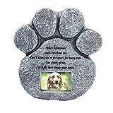 vismile Pet Memorial Stone Paw Print Dog Cat Devotion Garden Memory Stone with Photo Frame