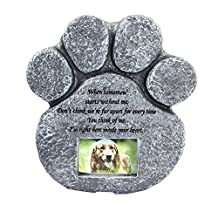 vismile Pet Memorial Stone Paw Print Dog Cat Devotion Garden Memory Stone with Photo Frame