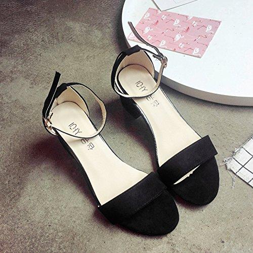 RUGAI-UE Las mujeres Zapatos de hebilla sandalias Verano Toe High-Heeled Sandals Black