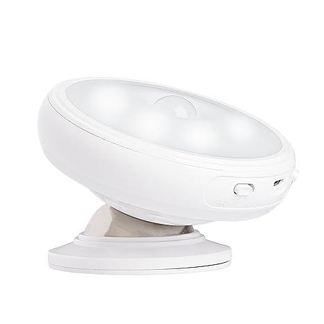 yafex Luz nocturna LED con detector de movimiento giratorio 360 grados recargables inalámbrico Sensor Lámpara de