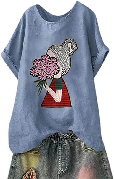 FELZ Camisa de Manga Corta para Mujer Elegante Casual Talla Extra Blusa de impresión de Cuello Redondo de Lino y algodón Verano túnica Suelta Tops Original T-Shirt Basica tee: Amazon.es: Ropa y