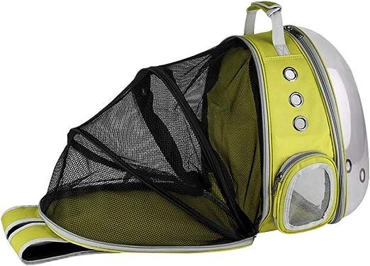Lcxligang Mochila for Mascotas Bolsa de Espacio escalable Transparente Estuche de Transporte saliente Bolsas de Hombro Bolso Bolsas for Perros Gato Jaula (Color : Yellow): Amazon.es: Hogar
