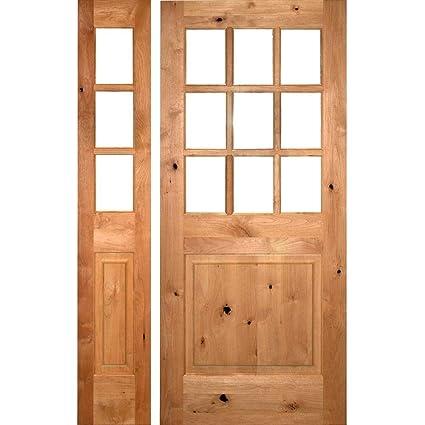 Beau Krosswood Doors 56 In. X 96 In. Craftsman Knotty Alder 9 Lite Unfinished
