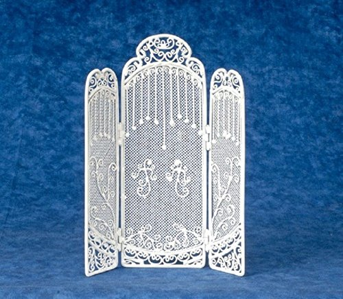 Dollhouse Miniature Victorian White Wire Floor Screen