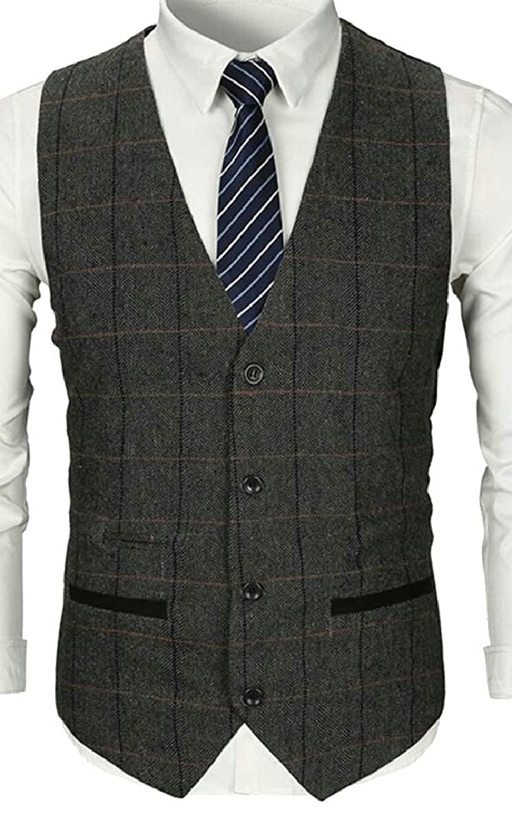Tymhgt-CA Mens Regular Fit Single Breasted Plaid Sleeveless Formal Suit Blazer Vest
