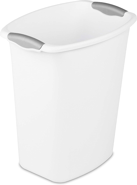Amazon Com Sterilite 10358006 3 Gallon 11 4 Liter Wastebasket White With Titanium Inserts 6 Pack Home Kitchen