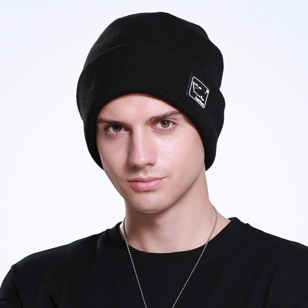 Sombrero lana tejido de punto engrosamiento negro invierno macho hembra Fedora Trilby Toca Sombrero regalo de Navidad ( Color : Black )