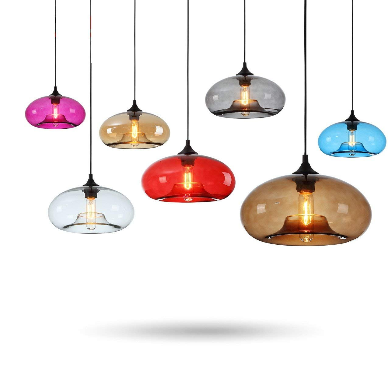 Ting-w Vintage E27 Pendant Ceiling Hanging Light Glass Shade (Amber)