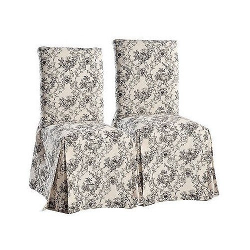 Black on Beige Classic Slipcovers TO50DRCLONG Toile Dining Chair Slipcovers Set of 2