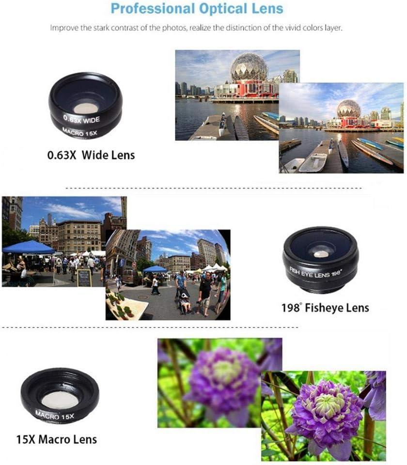 Phone Camera Lens Kit,4 in 1 Cell Phone Camera Lenses Kit 18X Telescopic Lens 0.36 Super Wide Angle Lens 15X Macro Lens 198/° Fisheye Lens