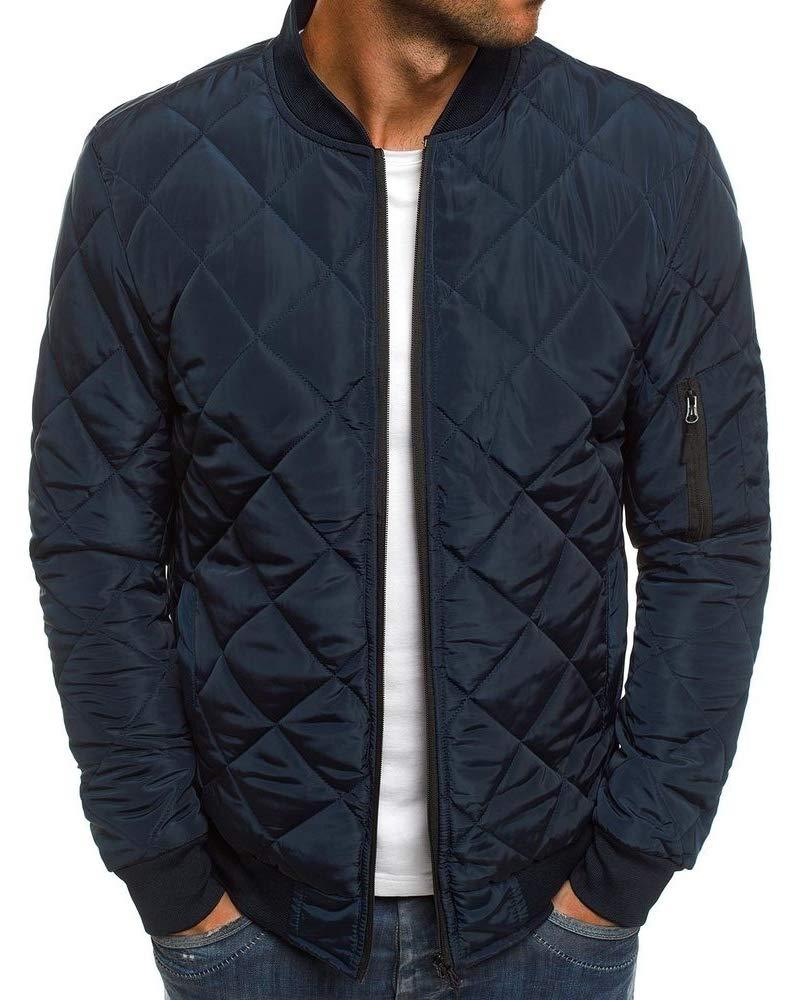 Pengfei Mens Jackets Bomber Varsity Diamond Quilted Spring Coats Outwear (Medium, Navy Blue) by Pengfei