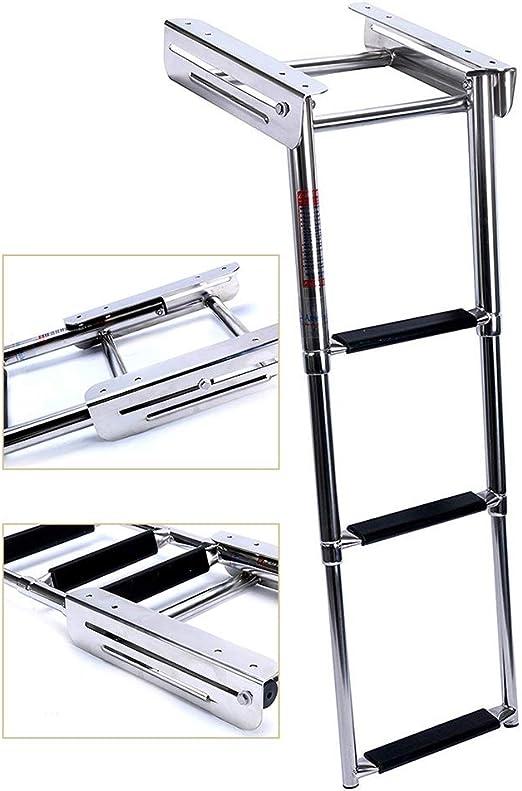 Escalera telescópica Barco/Cubierta/Plataforma De Baño 3 Escalones, Escalera Marina De Acero Inoxidable para Trabajo Pesado con Escalón Extra Ancho: Amazon.es: Hogar