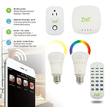 ZiOT Home Automation Starter Kit, Includes 1 Hub, 2 LED Bulb (Dimmer &
