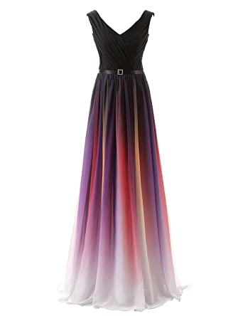 Sarahbridal Womens Ombre Long Evening Prom Dresses Chiffon Wedding Party Gowns US2