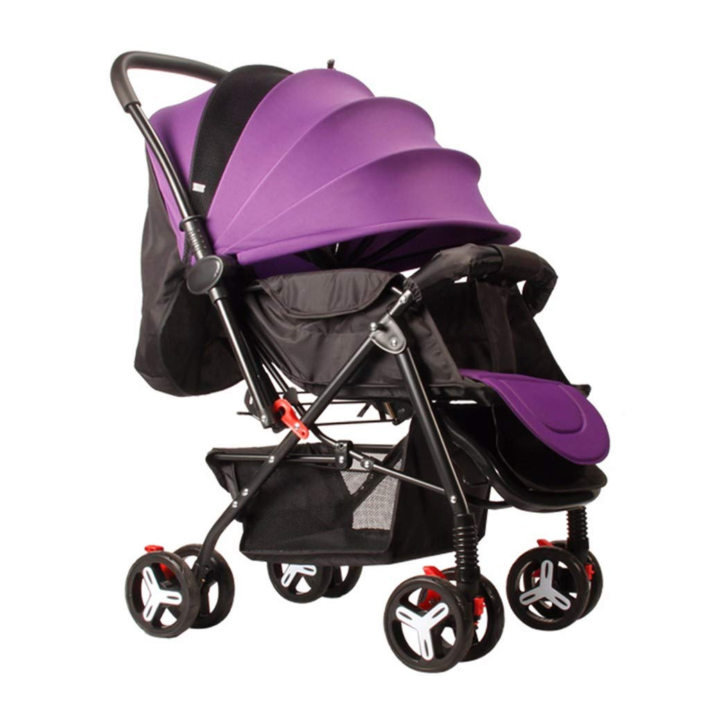 Gxinyanlong Babies can sit, Lie Down, and fold Four Wheeled Baby carts,Violet