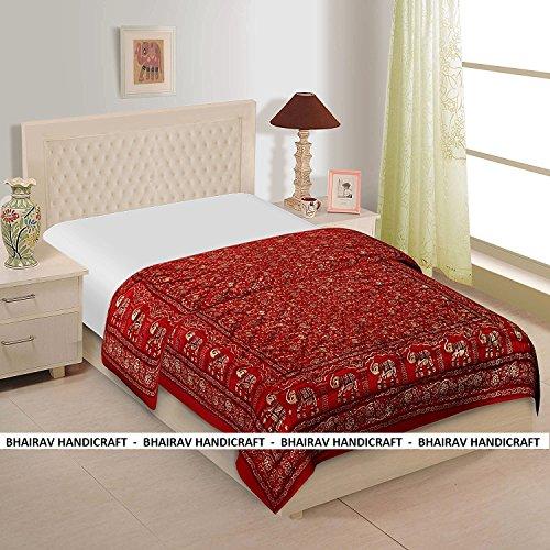 Indian RAJSTHANI MULTI COLORS Lotus Quilt handmade, designer RAJAI (RAZAI),100% Cotton,KING SIZE 90 X 104 INCHES Exotic Colors BY BHAIRAV HANDICRAFT (Handmade Cotton Quilt)