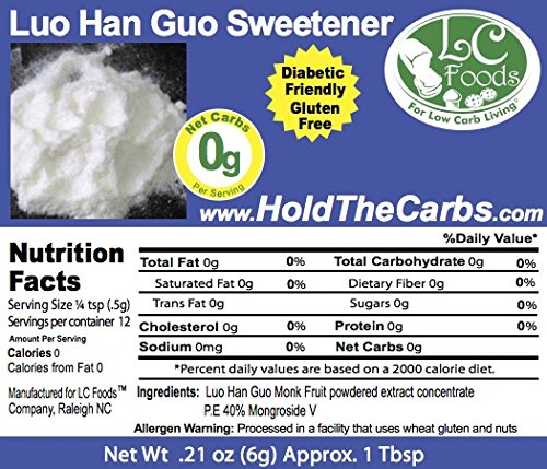 Luo Han Guo Monk Fruit Extract - LC Foods - All Natural - Low Carb - Paleo - Gluten Free - No Sugar - Diabetic Friendly - 0.21 oz