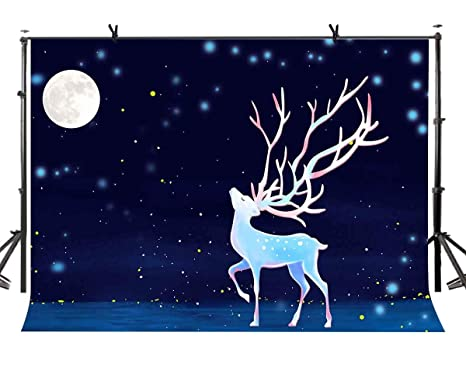 Joneaj 7x5ft Nuits étoile Toile De Fond Dessin Animé Cerf