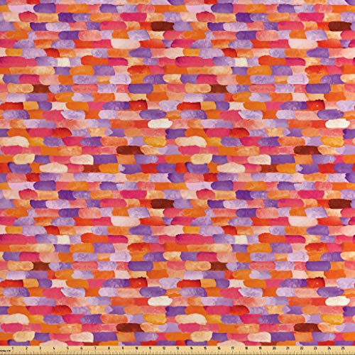 - Lunarable Abstract Fabric by The Yard, Vivid Watercolors Featured Brick Wall Unit Pattern with Crimson with Brushstrokes, Decorative Satin Fabric for Home Textiles and Crafts, 2 Yards, Multicolor