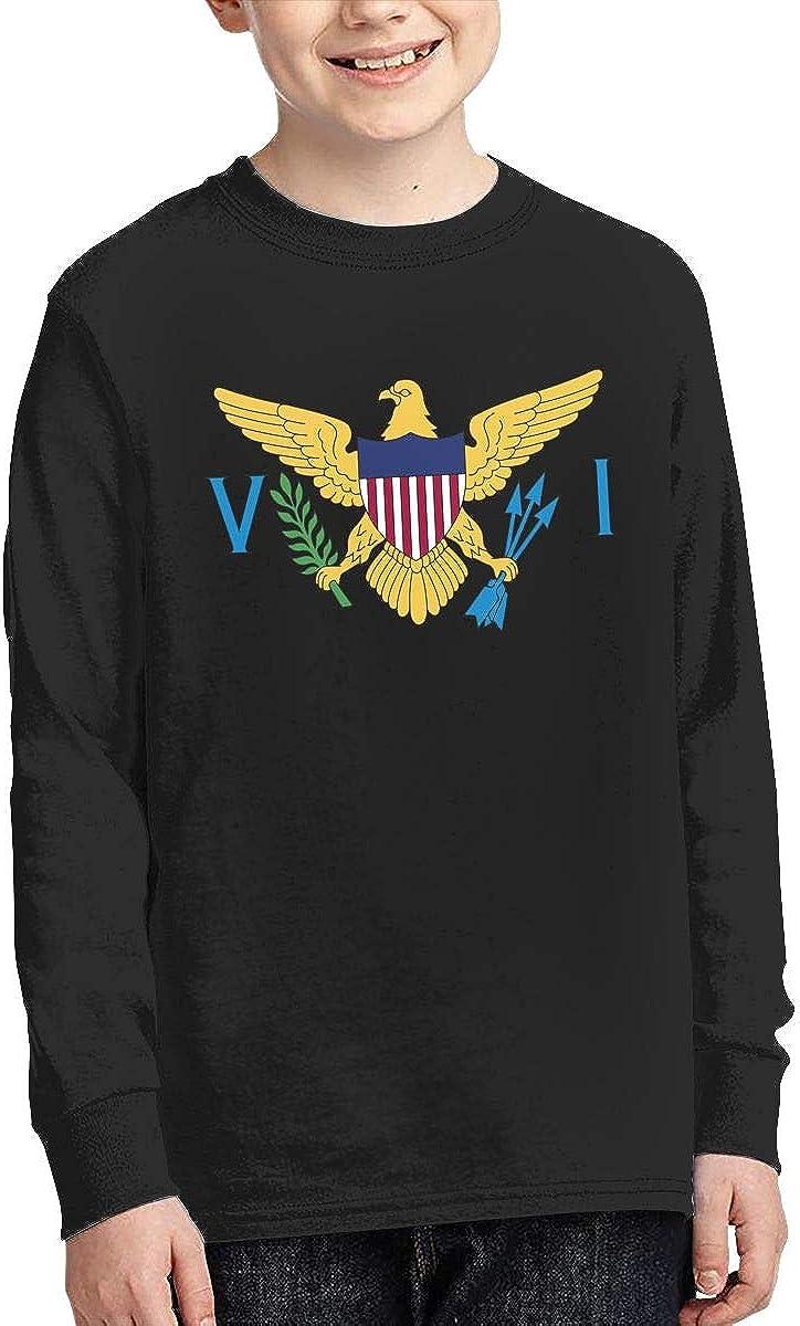 Teenagers Teen Girls US Virgin Islands Flag Printed Long Sleeve 100/% Cotton Tops
