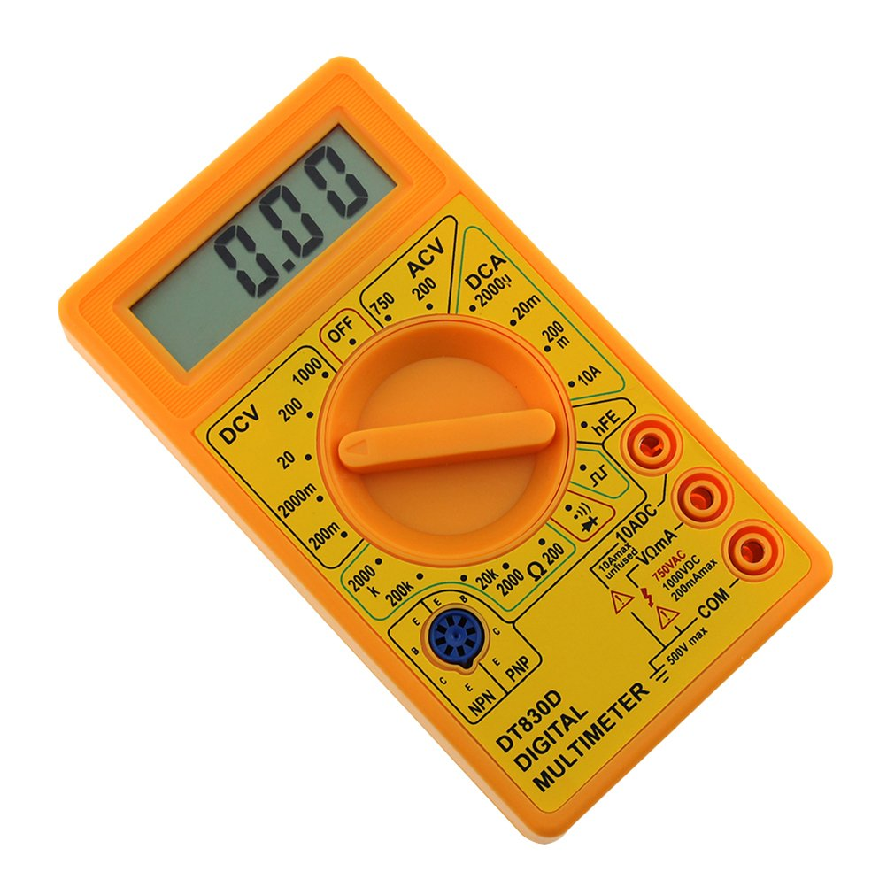Yellow UEETEK DT-830D Digital Multimeter with Buzzer Square Wave Output Voltage Ampere Ohm Tester Probe DC AC LCD Overload Protection