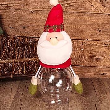 fashionclubs Navidad pequeño regalo Candy para galletas y comida botella tarro Elk muñeco de Papá Noel