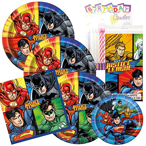 Justice League Theme Plates and Napkins Serves 8 With Table Cover And Birthday Candles (Cover Gourmet Serve)