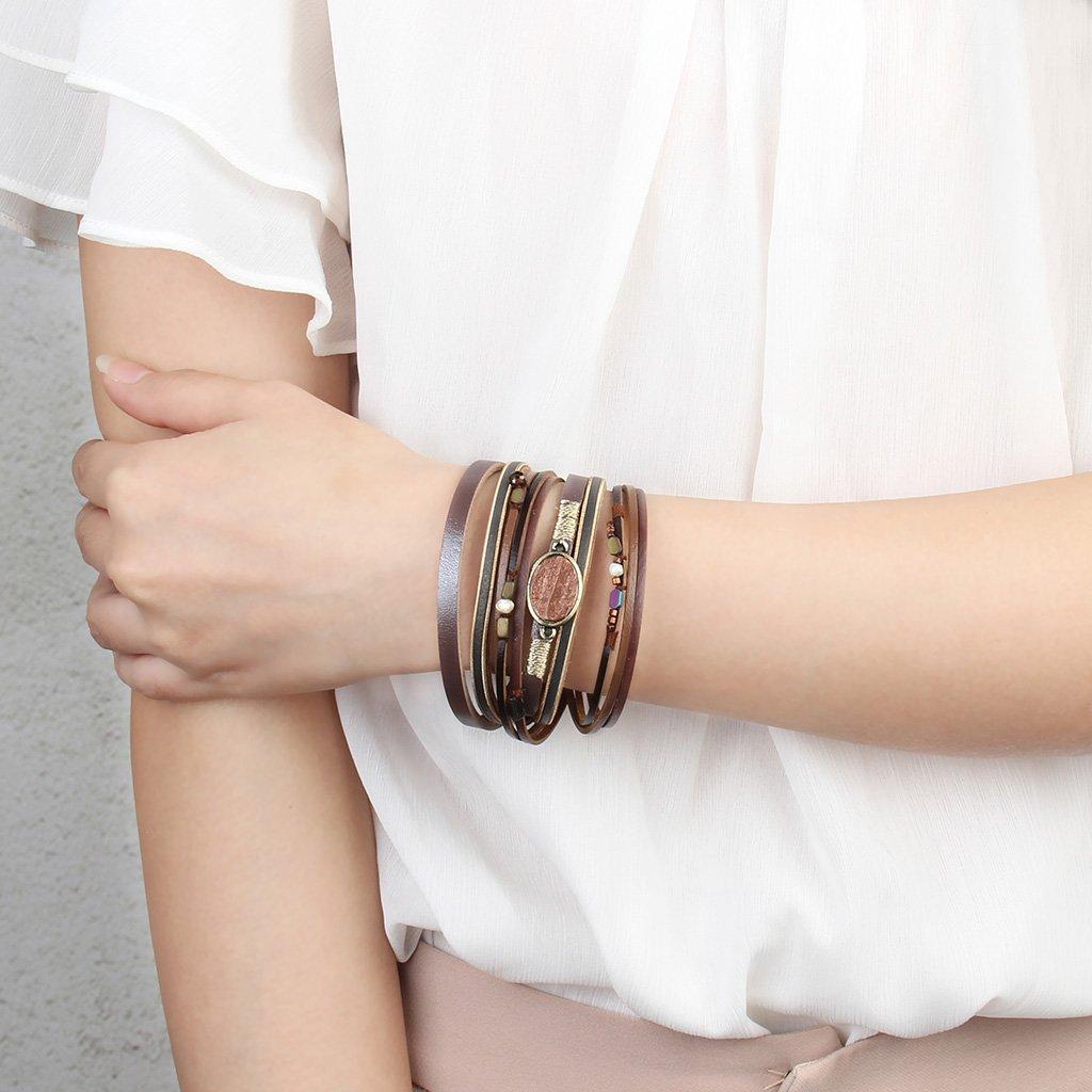 COOLLA Women Genuine Leather Vintage Colorful Beads Wrap Bangle Bracelet Pearl Pendant Magnet Buckle