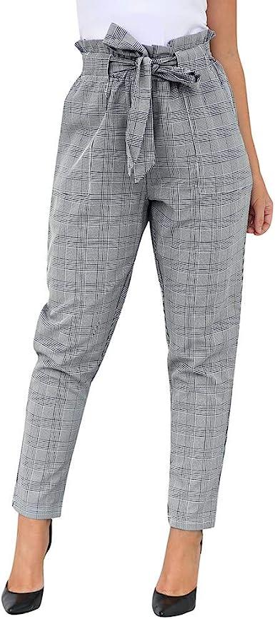 Familizo Pantalones Mujer Cintura Alta Tallas Grandes Verano Comodos Elasticos Moda Mujer Casual Bow Vendaje Cintura Alta Harem Pantalones Bolsillos A Cuadros Pantalones Amazon Es Ropa Y Accesorios