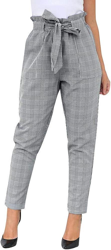 Pantalones de harén para Mujeres, ❤️ Absolute Moda para Mujer Gris Arco Ocasional Vendaje Cintura Alta Pantalones de harén Bolsos a Cuadros Pantalones