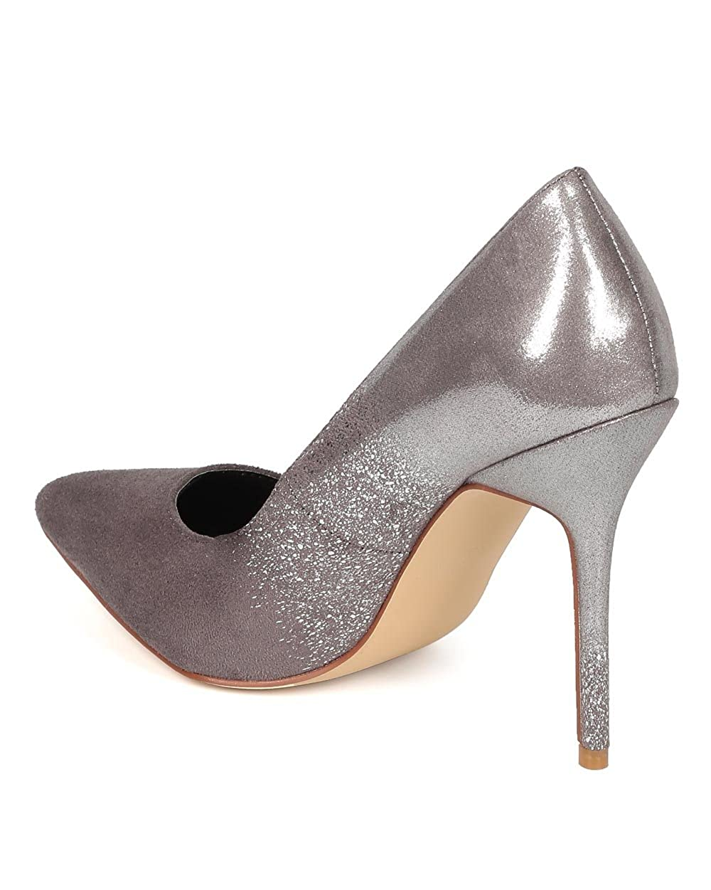Women Suede Ombre Shimmer Pointy Toe Single Sole Stiletto Pump CF04 Grey Faux Suede