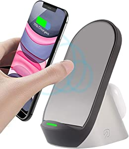 2 in 1 Wireless Charger Stand Fast Dual Charging Station for iPhone 12/11/11pro/Se/X/XS/XR/Xs Max/8/8 Plus,AirPods Pro/3/2,Galaxy Buds Live,Samsung S20 Ultra/S10/9/8/Note 20/10/9/8,Qi Enabled Phones