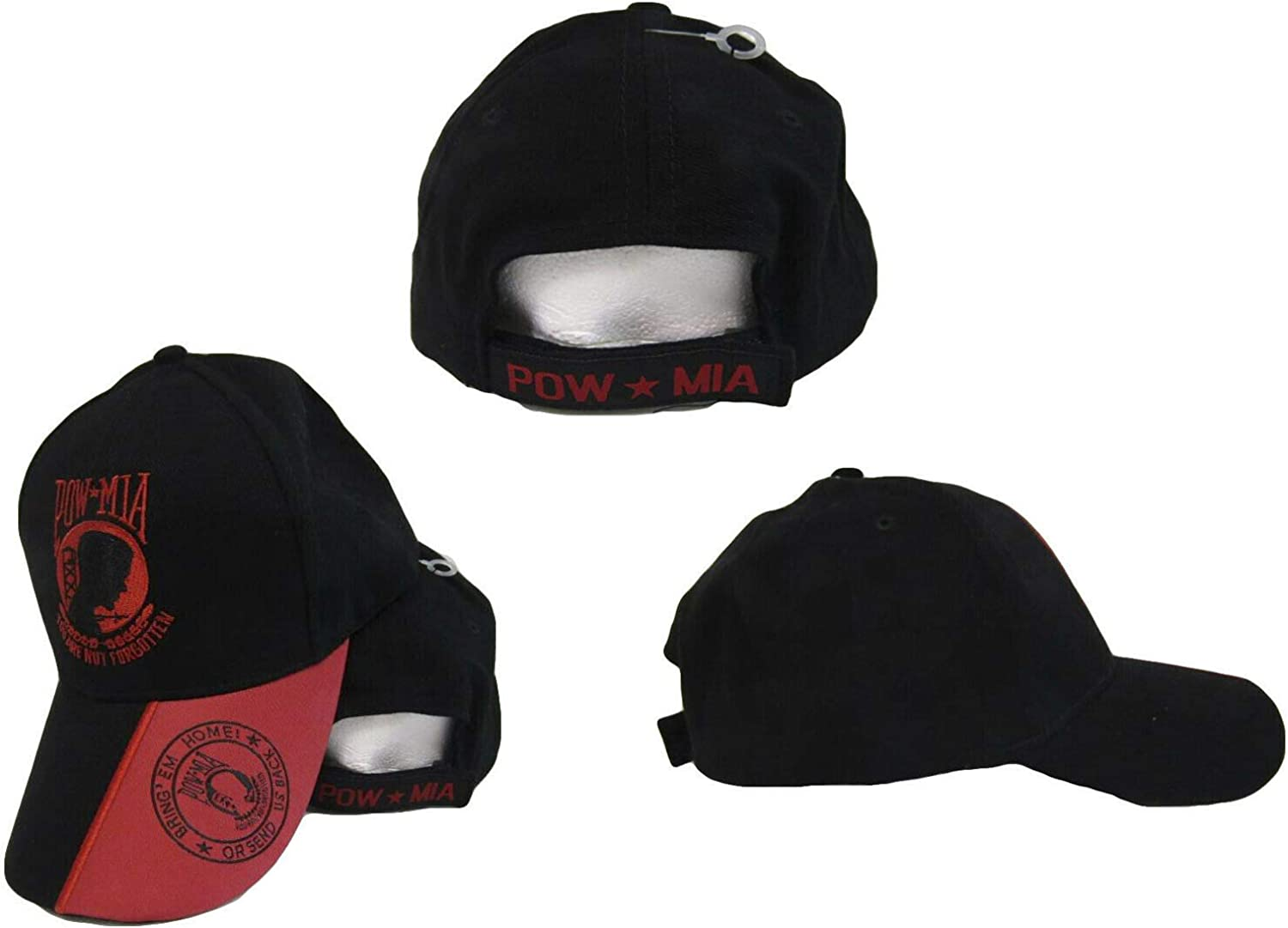 Trade Winds POW MIA Red Black Bring Them Home or Send Us Back Embroidered Cap Hat