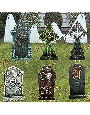 DEMESEX Set van 6 halloweendecoratie, grafstenen, 43 cm schuimrubber, RIP begrafsteen en metalen grondpunt voor Halloween tuindecoratie