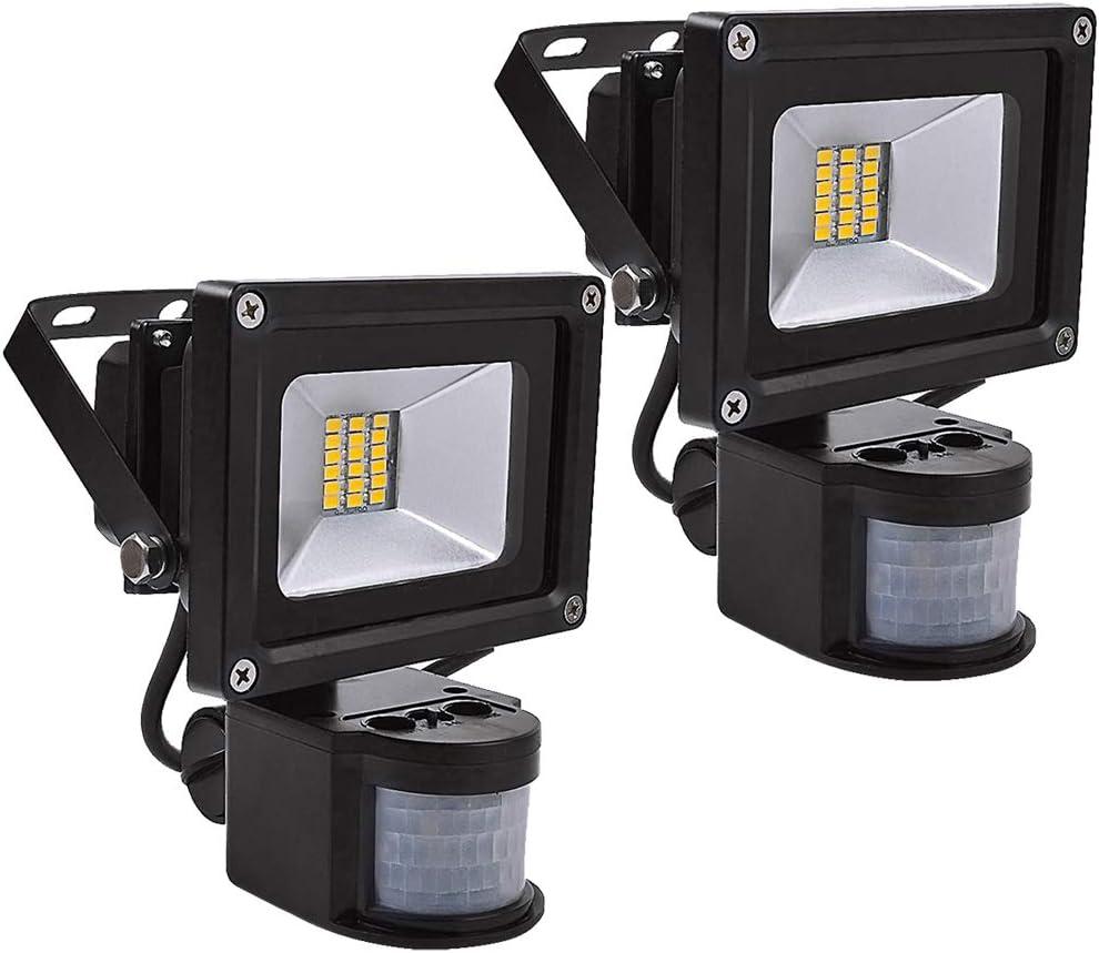 Leetop Luz de Inundación de la Energía baja SMD de 2pcs 20W LED con el Sensor de PIR, Blanco Suave, Negro, CA 220V, Cuerpo de Aluminio, IP56 Clasificado, Luz al aire libre de la Seguridad del Jardín