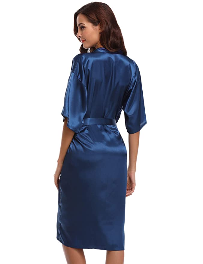 Aibrou Kimono Mujer Batas Largas Lenceria de Aspecto Brillante ...