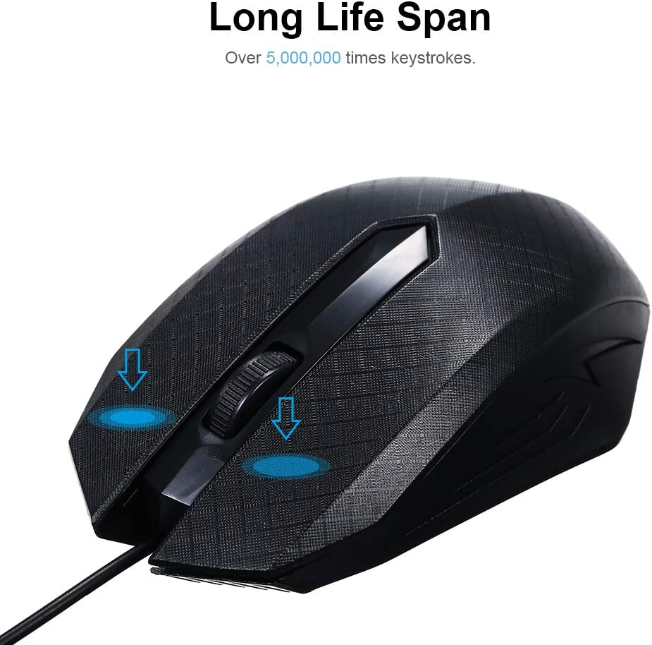 Designed for Office Work for Windows 7//8//10 // XP MacOS Easy to Navigate CHAOZHAOHENG Mouse 3-Button USB Optical Gaming Mouse with 1.1M line 1600dpi Ultra-Fast Scrolling