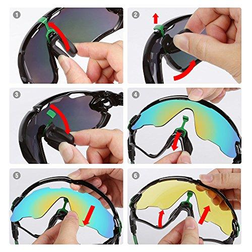 LeaningTech En bicicleta Gafas de sol polarizadas gafas de deporte de gafas 5 lentes de repuesto Gafas de Deportes Ciclismo Esquí Pesca Pesca: Amazon.es: ...
