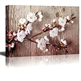 "wall26 - Canvas Prints Wall Art - A Branch with Cherry Blossom on Vintage Wood Background Rustic Home Decoration - 16"" x 24"""