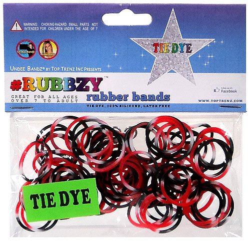 Undee Bandz Rubbzy 100 Black, Red & White Tie-Dye Rubber Bands with Clips [V] by Rubbzy B00EZWN42K