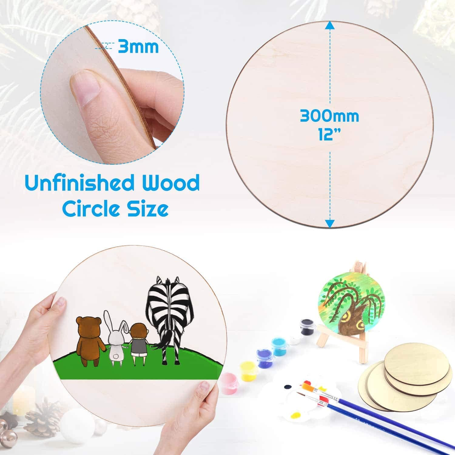 Audab 12 Pack 12 Inch Unfinished Wood Rounds Wooden Cutouts for Crafts Door Hanger Wood Circles for Crafts Door Design Wood Burning