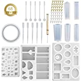 India Pioneer Resin Casting Molds Set, Resin Casting Molds Silicone Jewelry Casting Mould DIY Making Tool Crafting Pendant Earrings (68 PC)