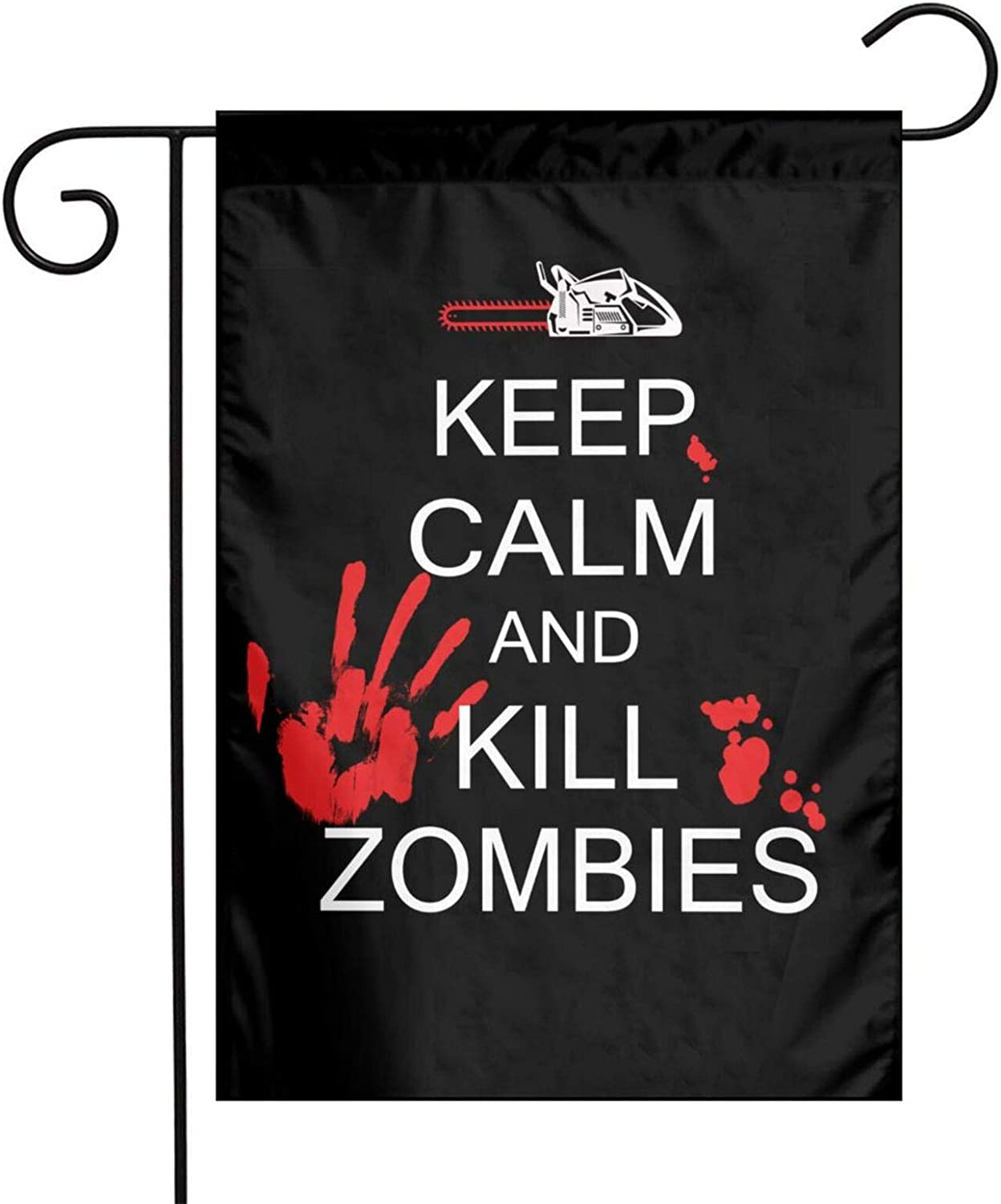 Augenstern Garden Flag Keep Calm Kill Zombies Halloween 12 X 18 Inch Winter Yard Flag Double Sided Yard Decorations Holiday Outdoor Flag