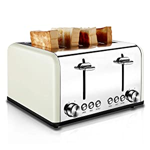 Toaster 4 Slice, CUSIBOX Extra Wide Slots Stainless Steel Four Slice Toaster, BAGEL/DEFROST/CANCEL Function, 1650W, Cream