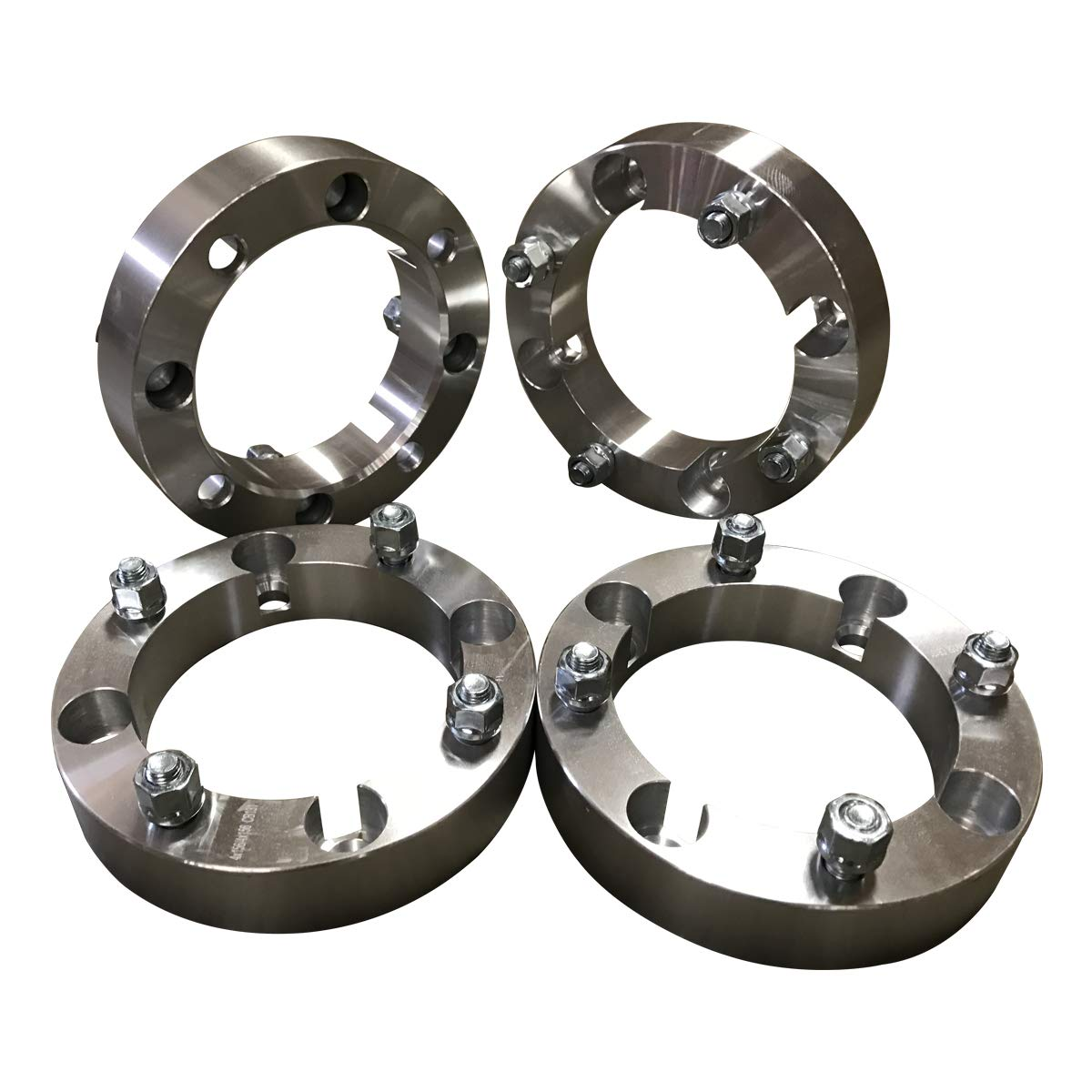 4x156 Wheel Spacers (1.5 inch) 38.1mm (131mm bore, 12x1.5 Studs & Nuts) 4 Lug wheelspacer for Polaris Ranger, RZR, XP 1000, S 900, S 1000, ATV, UTV (Silver) (4 pieces) FAS Motorsports