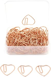 SaPeal 100 Pieces 3 cm Love Heart Shaped Small Paper Clips Bookmark Clips for Office School Home (Rose Gold)