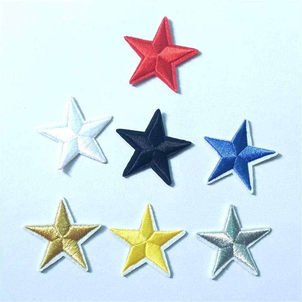 Ruikey 10Pcs Parches Estrellas Parches De Tela Bordada Para Los Pantalones Vaqueros De La Camiseta Diy Accesorios Decorativos Amarillo