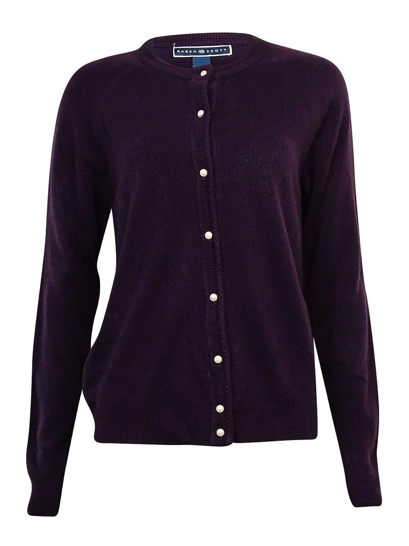 Karen Scott Womens Knit V-Neck Cardigan Sweater