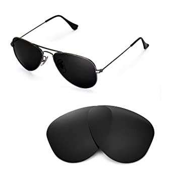 1cb9a4b41b5 Walleva Replacement Lenses for Ray-Ban Aviator RB3044 Small Metal 52mm  Sunglasses - Multiple Options Available(Black - Polirazed)